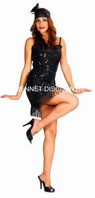 50 S STYLE FLAPPER LADY WITH SEQUINS COSTUME HALLOWEEN DRESS WOMAN HB REDUCED - 1950's Style Halloween Costumes