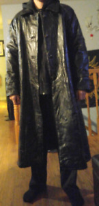 Genuine leather trench coat xl