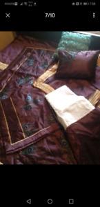 8 pcs embroidered King size comforter set