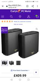 Asus Zen wifi XT8*whole house wifi system twin pack