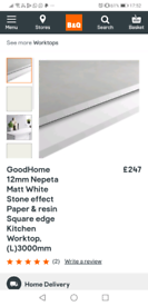 12mm goohome nepeta Matt white stone effect kitchen worktop BnQ £247
