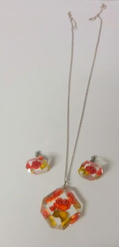 Vintage Clear Plastic Lucite Rose Charmeuse Earrings Pendant Necklace Set