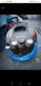 Air compressor and 2 nailers