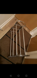 Shoe rack, stand silver, new was 30 pounds