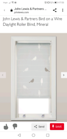 """John Lewis roller blind """"bird on a wire"""", mineral"""