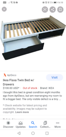 Ikea flaxa bed with drawers