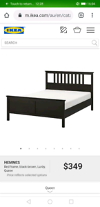 Ikea Hemnes Black-Brown QUEEN bed frame (optional free mattress)