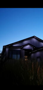 LED lights attached to house soffits, permanent.