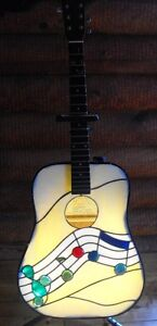 stained glass lamp made from a real guitar