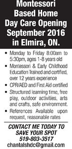 New Montessori based Home Daycare opening in September