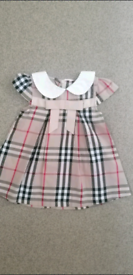 Baby Girls Ribbon Bow Check Summer Dress, Age 3-6 months.