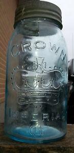 ANTIQUE CROWN SEALER JAR AQUA GLASS COUNTRY DECOR