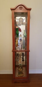 LIGHTED SOLID WOOD FULL-LENGTH CURIO CABINET with 2 GLASS DOORS