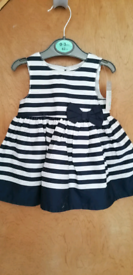 New Baby Girls Navy/White Striped Print Summer Party Dress by Primark,