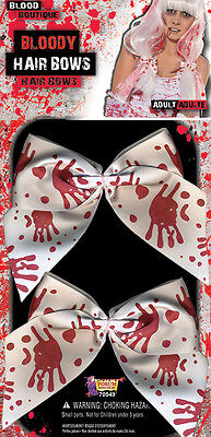 HALLOWEEN HAIR BOWS WITH BLOOD STAINS MAD #NURSE FANCY DRESS PARTY  - Halloween Blood Stains