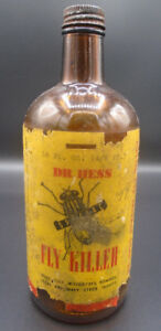 VINTAGE 1940's DR. HESS FLY KILLER (16 oz.) PAPER LABEL BOTTLE