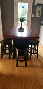 Pub style table with 4 stools