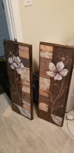 Two Flower Wall Art Decor 37 x 13 - (both for $10 firm)