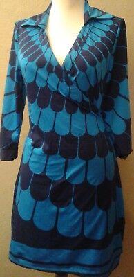 Julie Brown Wrap Dress 2 Shades Of Blue Sz Medium