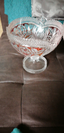 For sale in nice glass stand read round it heavy good for fruits show