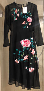 Brand new (never worn) ASOS Midi Dress with floral embroidery