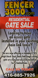 Chain link, iron fence and gates.