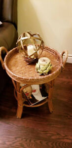 Vintage Boho Bamboo Rattan Wicker Butler's Serving Tray Table