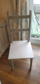 chairs x2 grey white solid wood