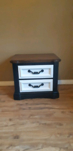 Nightstand end table rustic look refurbished black and white