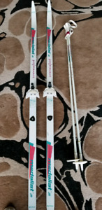 X COUNTRY SKIS AND POLES
