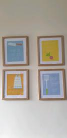 Kitchen prints in frames