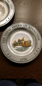 Commemorative Antique Pewter Plates