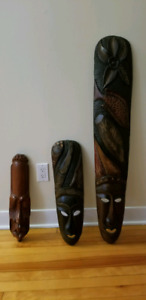 Wooden tribal masks