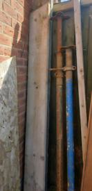Steel Scaffold lengths and 2 supports, coupling joints and 1 board