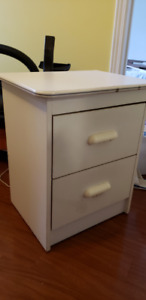 Bed Side Table (White) - $5 14 x 22.5 x 16
