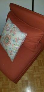 Orange fabric sofa chair (IKEA)