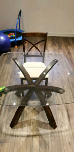 Glass dining table and chaira