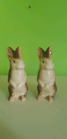Pair of Rare Poole Pottery Vintage Brown Rabbits