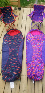Kids sleeping bags and camping chairs.