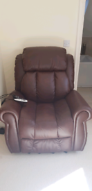 Padded leather rise & recline chair with Heat & massage settings