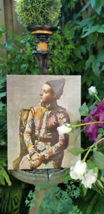 """Vintage Picasso Lithograph Print """"Seated Harlequin"""" Painting"""