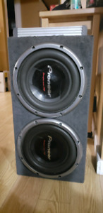 Two 12inch pioneer champion series subwoofers with amp