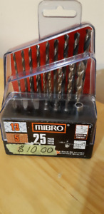 NEW MIBRO 25 PC DRILL BIT SET-WOOD,METAL,CONCRETE+ SCREW BITS