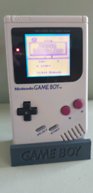 Original gameboy with backlit screen and bivert chip