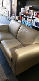 Leather 3 seat sprung sofabed - cream