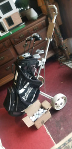 Complete LEFT Handed golf bag, with Push Cart