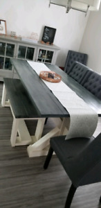Rustic hand made dining table including bench!!