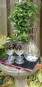 Vintage Etched Silver Glass Wine Starburst Decanter  Set