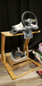 Xbox360 steering wheel and pedals  with diy stand