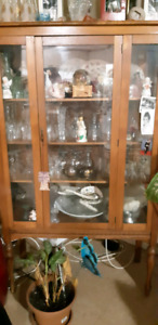 Oak Anticke China  cabinet worth 1000.00 asking 850 or best off